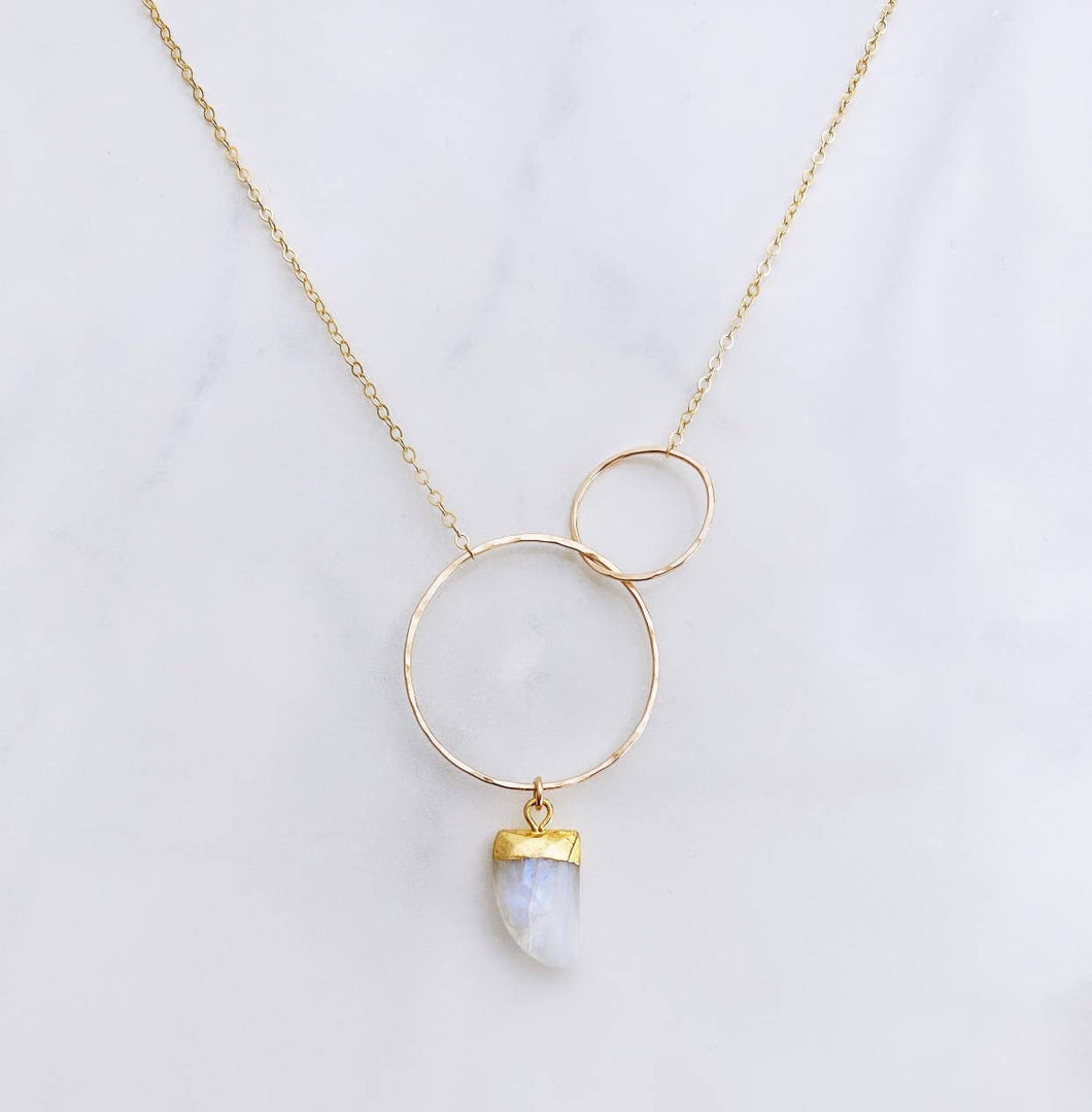 Moonstone Double Circle Necklace