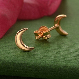 18k Rose Gold Plated Moon Studs