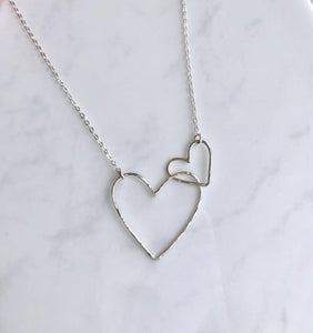 Interlocking Hearts Necklace ~ Sterling Silver