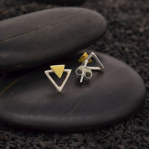 Sterling Silver Modern Triangle Studs