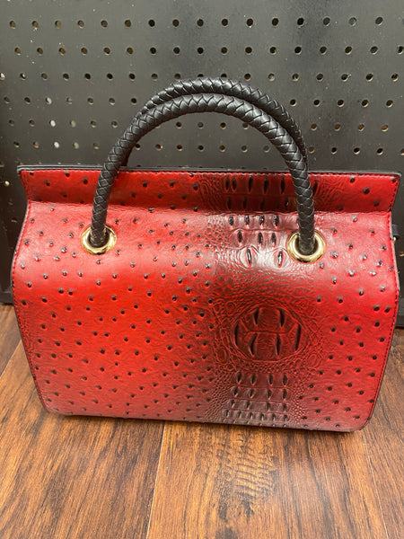 'What The Croc' Boston Bag - Scarlet Red Crocodile - Umami Tea