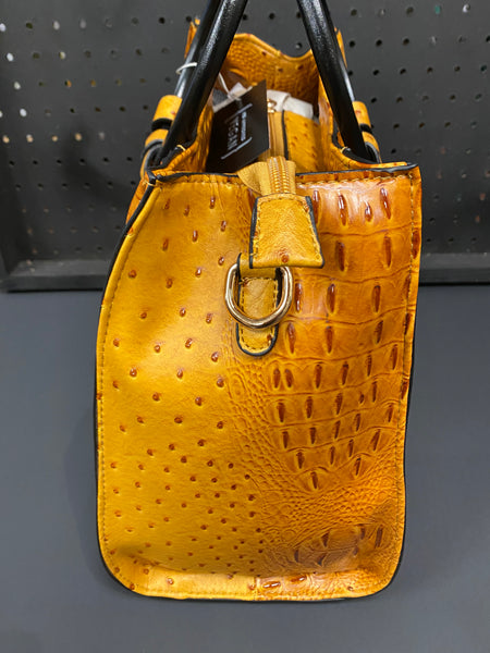 'What The Croc' Tote Bag - GoldenLocks Mustard Crocodile