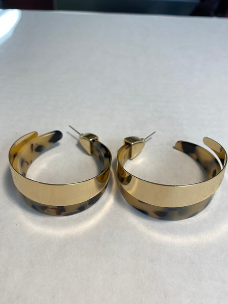 Cheetah Gold Resin Hoop Earrings - Umami Tea
