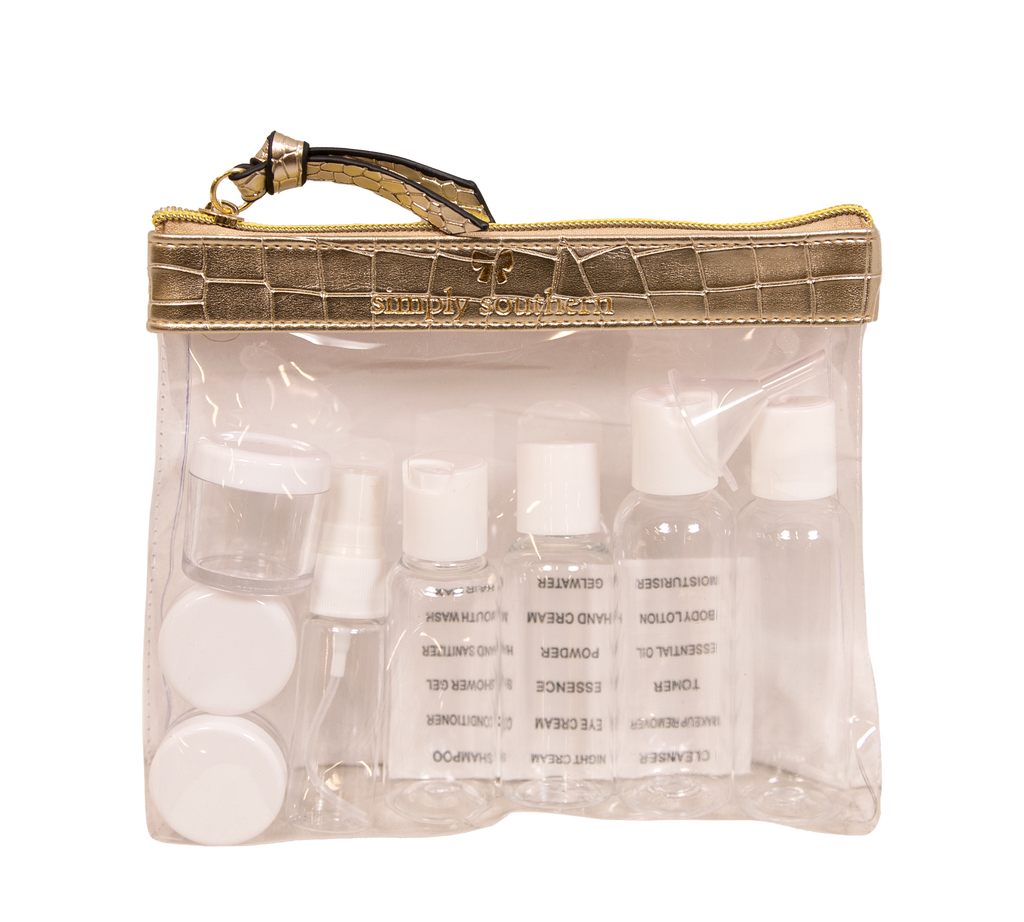 Gold Leather Clear Toiletry Bag - S20 - Simply Southern