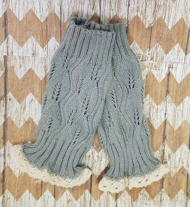 Lace Boot Cuffs - Grey