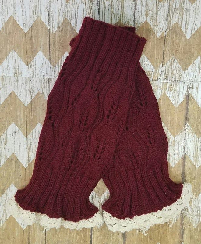 Lace Boot Cuffs - Burgundy