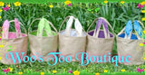 Burlap with Bunny Ears Easter Bucket with a Free Monogram