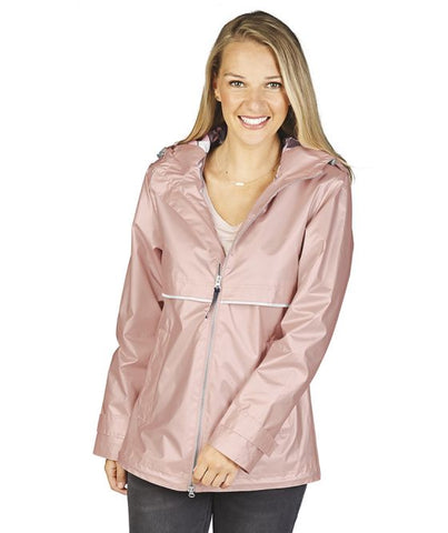 Charles River - New Englander Raincoat - Rose Gold with Print Lining
