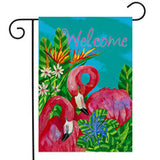 Tropical Flamingos - Garden Flag