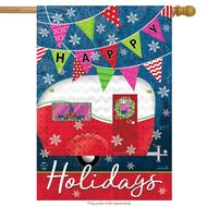 Happy Holidays Camper - House Flag