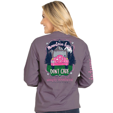 Mountain Hair Don't Care - Jeep - SS - YOUTH Long Sleeve