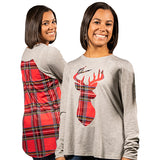 Plaid Deer Blouse - F19 - Simply Southern