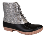 Boots Lace Up Glitter Silver - F20 - Simply Southern