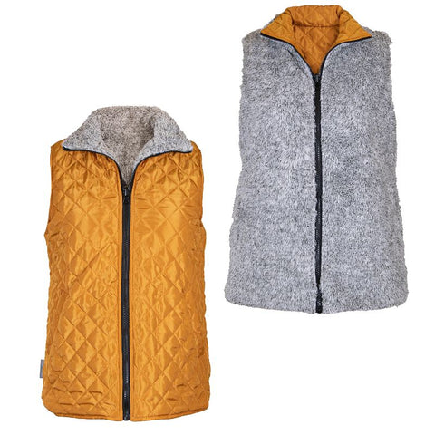 Reversible Sherpa Mustard - VEST - F20 - Simply Southern