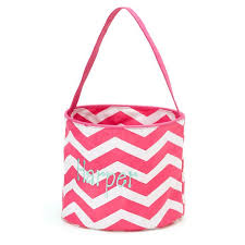 Pink Chevron Easter Bucket with a Free Monogram