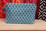 Aqua Blue - Quatrefoil Cosmetic Bag