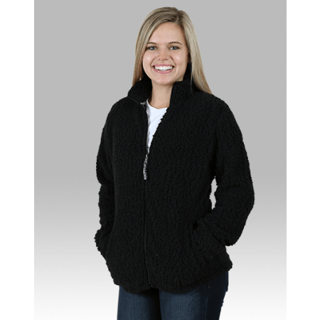 Ladies Black Full Zip Sherpa