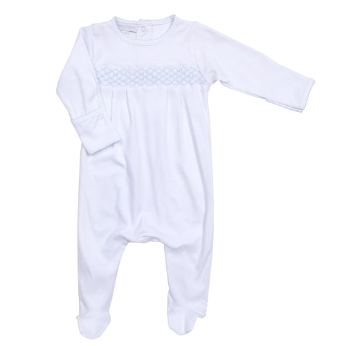 Essentials Smocked Footie White w/ Blue