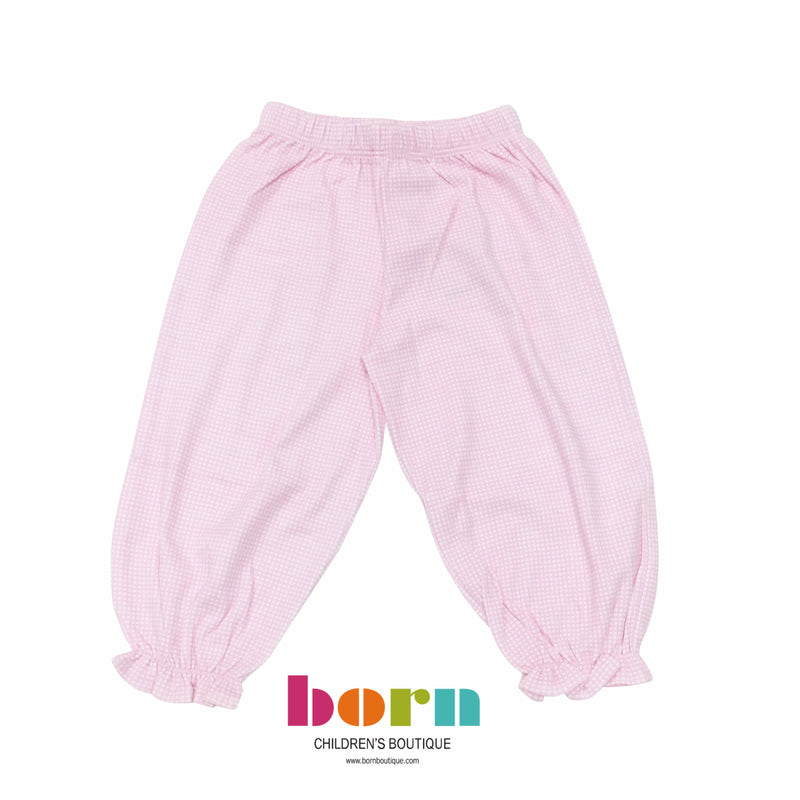 Girl Bloomer Pants Light Pink Gingham - Born Childrens Boutique