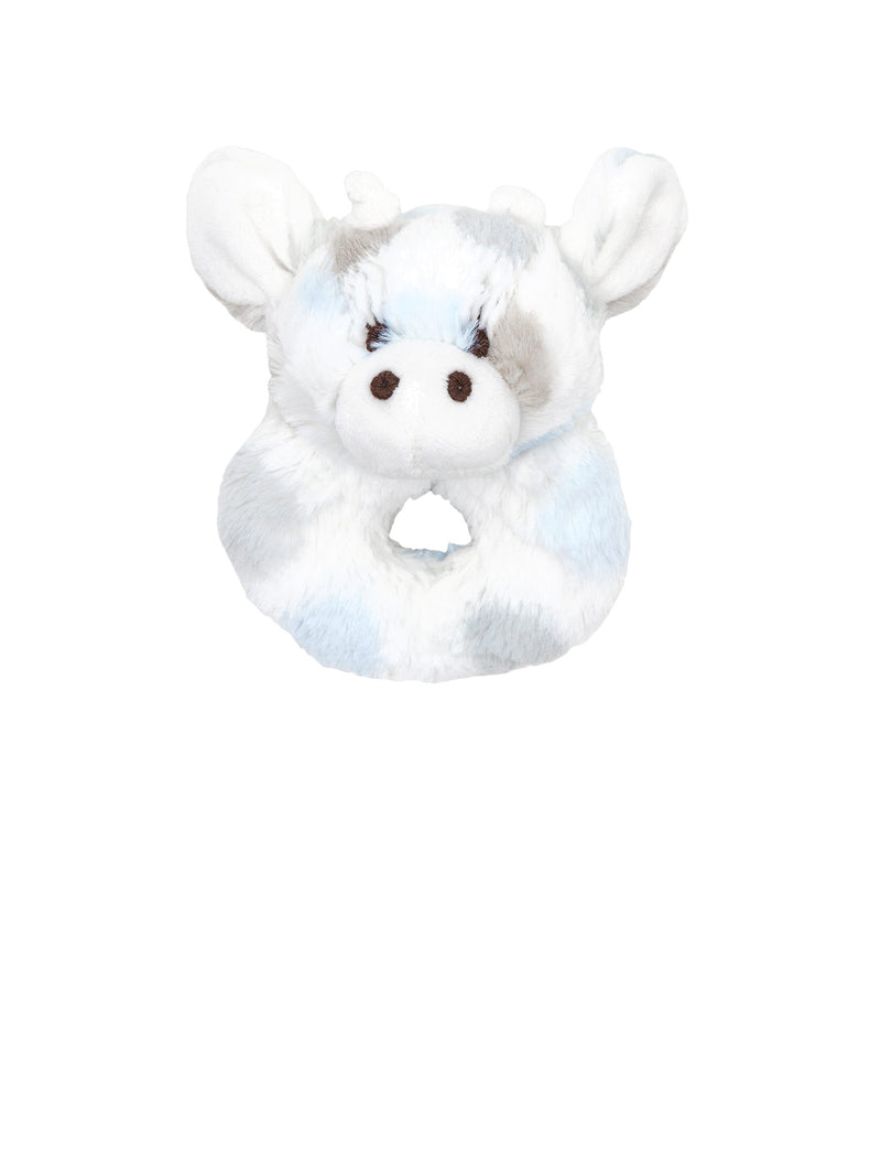 Luxe Dot Plush Giraffe Rattle Blue