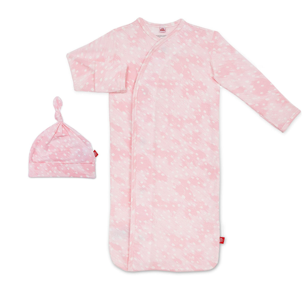 Pink Doesking Modal Magnetic Gown & Hat - Girl Doeskin - Born Childrens Boutique