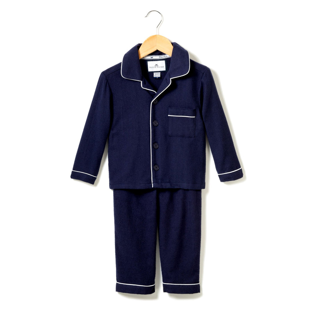 Classic Navy Flannel Pajamas - Born Childrens Boutique