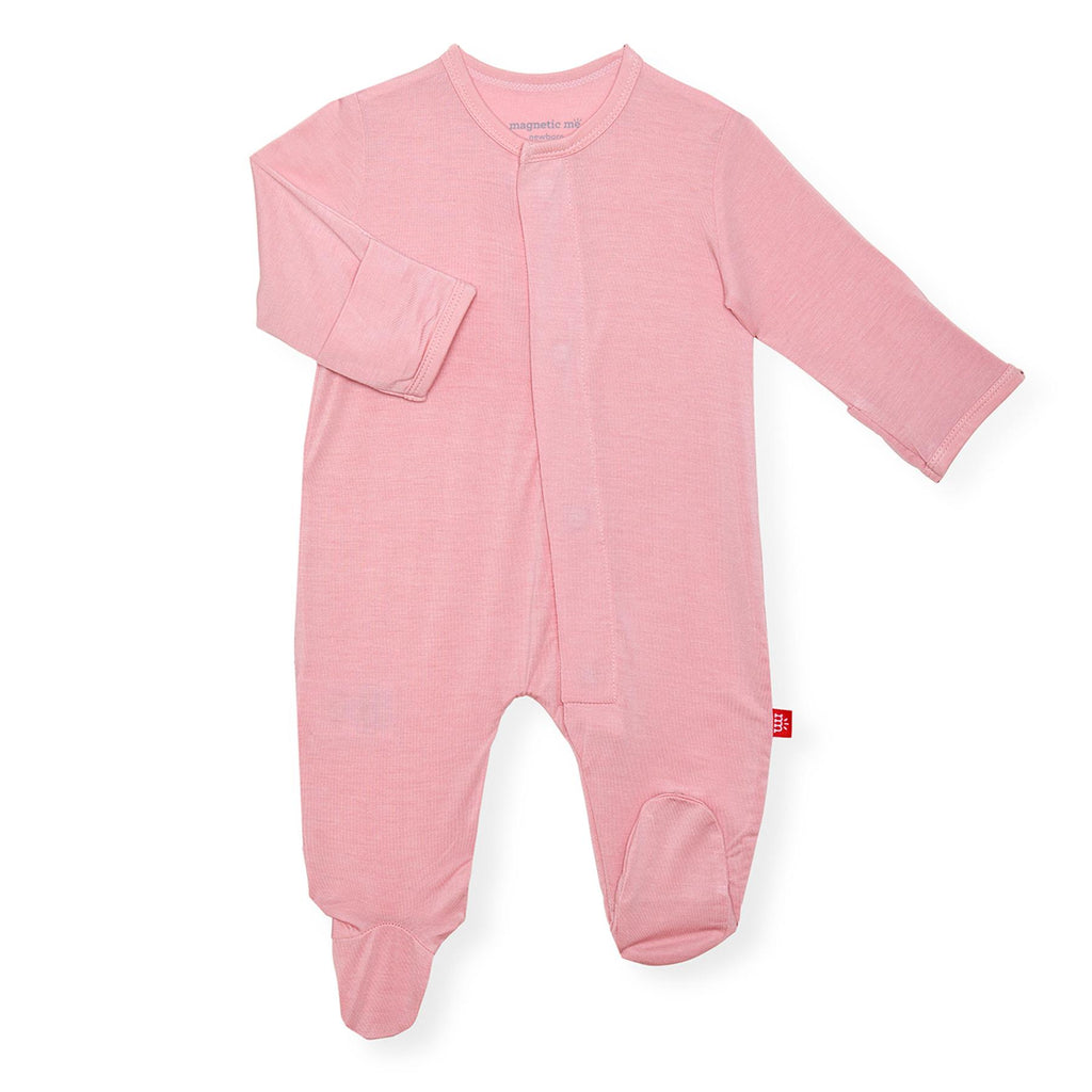 Dusty Rose Solid Modal Magnetic Footie - Dusty Rose - Born Childrens Boutique