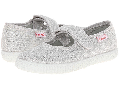 Cienta Kids Mary Jane Silver Glitter