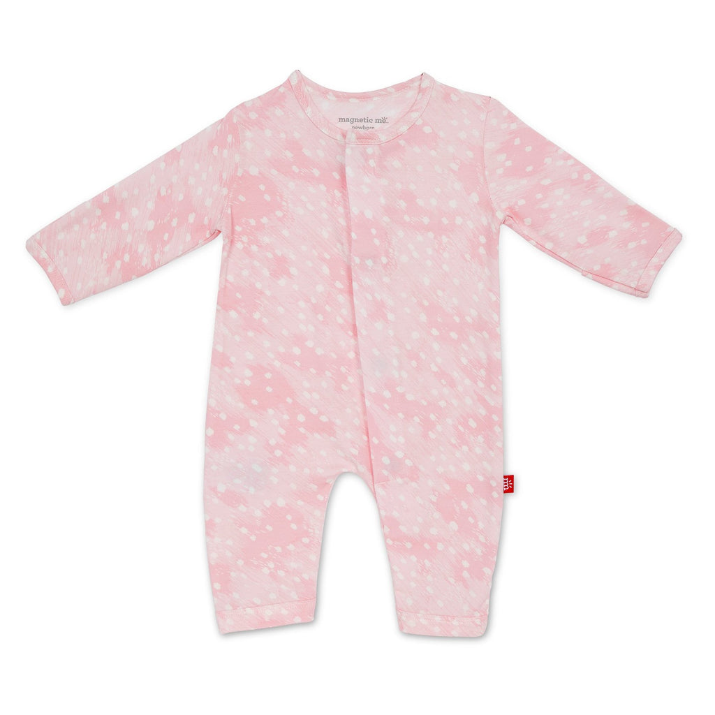 Pink Doeskin Modal Magnetic Coverall - Girl Doeskin - Born Childrens Boutique