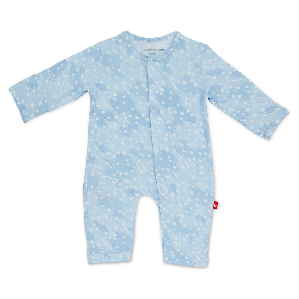 Blue Doeskin Modal Magnetic Coverall - Boy Doeskin - Born Childrens Boutique