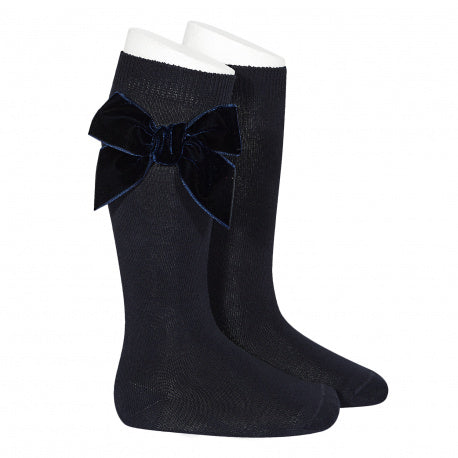 Knee Socks with Velvet Bow Navy - Born Childrens Boutique