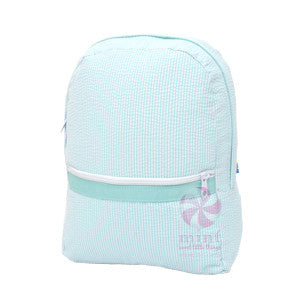 Oh Mint Mint Seersucker Backpack - Born Childrens Boutique