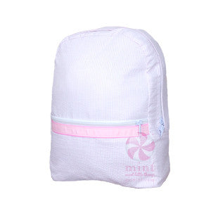 Oh Mint Pink Seersucker Backpack - Born Childrens Boutique