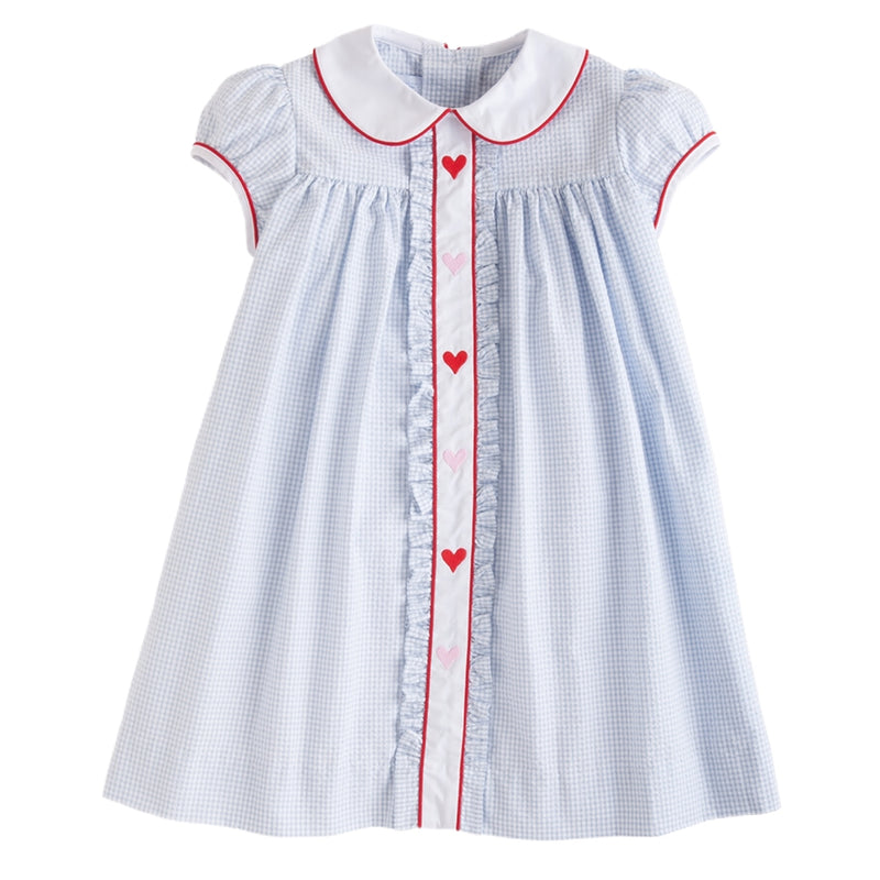 Hearts Ruffled Sally Dress - Born Childrens Boutique