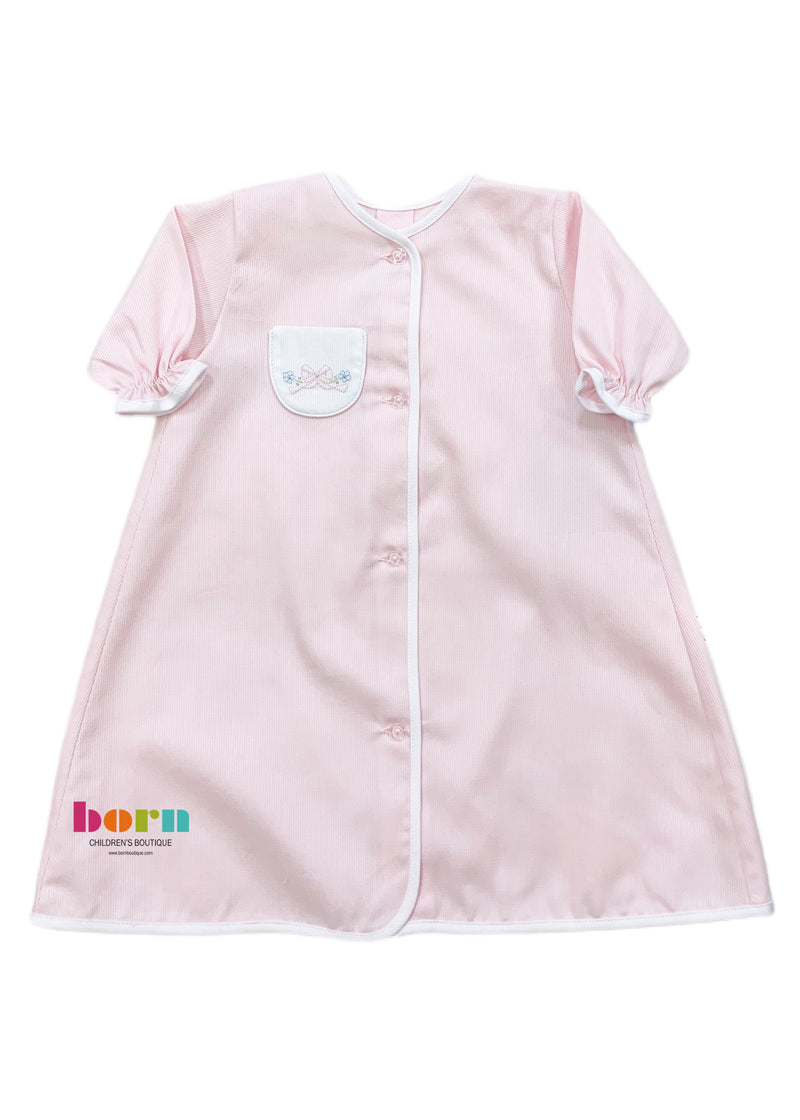 Pique Day Gown Pink White Tiny Bow - Born Childrens Boutique