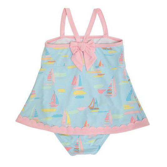 Stratford Scallop Swimsuit - Sandyport Sailboats/Palm Beach Pink - Born Childrens Boutique