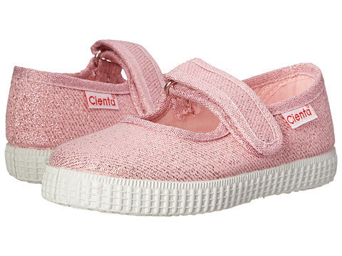 Cienta Kids Mary Jane Light Pink Metallic