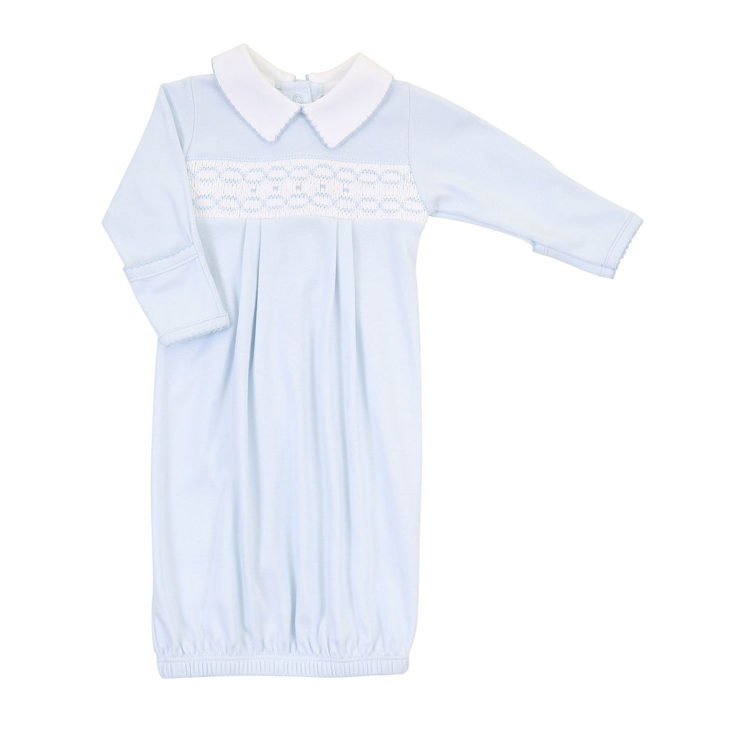 Cora and Cole's Classics Smocked Collared Pleated Gown - Born Childrens Boutique