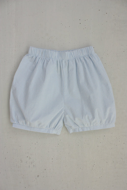 Banded Shorts - Light Blue Gingham