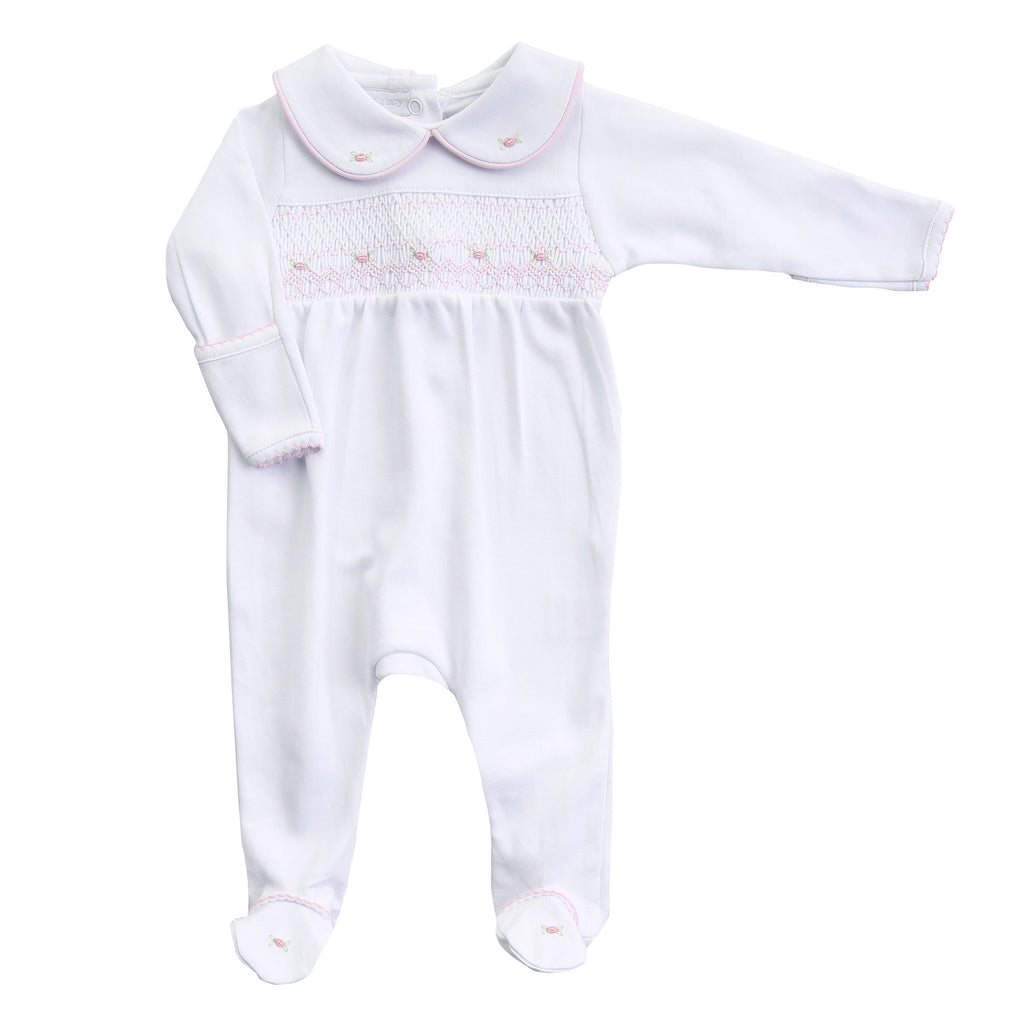 Lia and Luca Smocked Pink Footie - Born Childrens Boutique