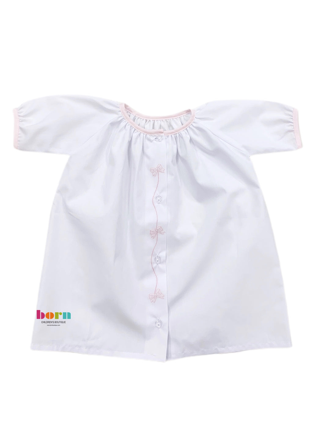 Daygown L/S White/Pink Bow String - Born Childrens Boutique