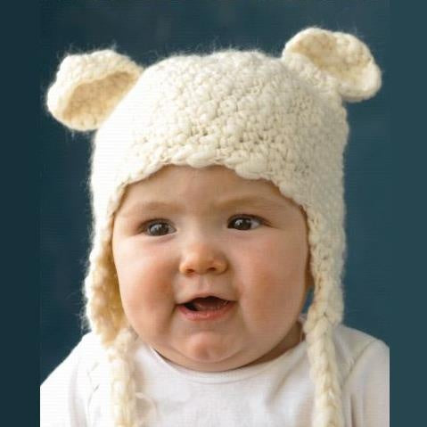 Cream Knit Bear Hat