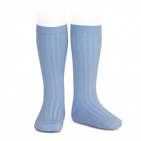 Ribbed Knee Socks French Blue - Born Childrens Boutique