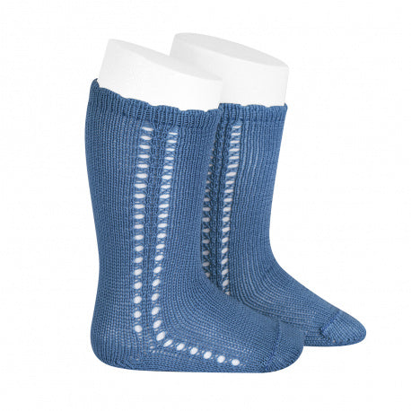 Side Crochet Knee Sock French Blue - Born Childrens Boutique