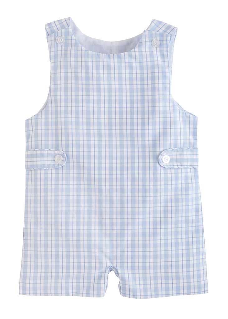 Button Tab John John - Light Blue Plaid - Born Childrens Boutique