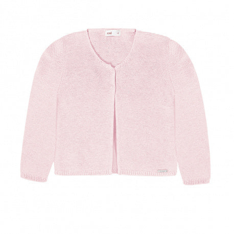 Garter Stitch Cardigan Light Pink - Born Childrens Boutique
