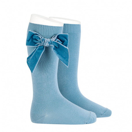 Knee Socks with Velvet Bow Light Blue - Born Childrens Boutique