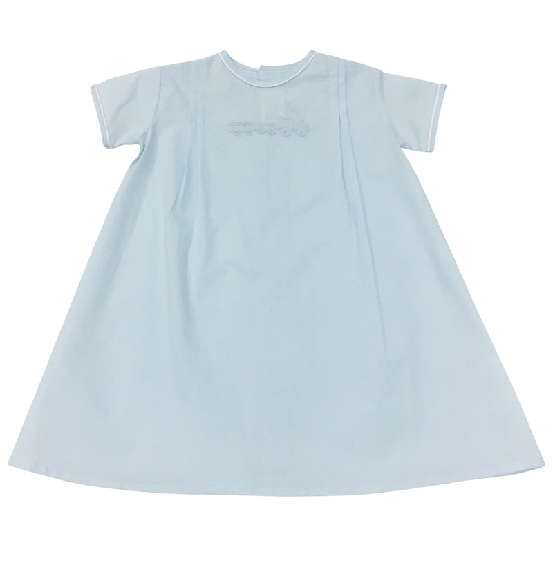 Daygown Blue w Train - Born Childrens Boutique