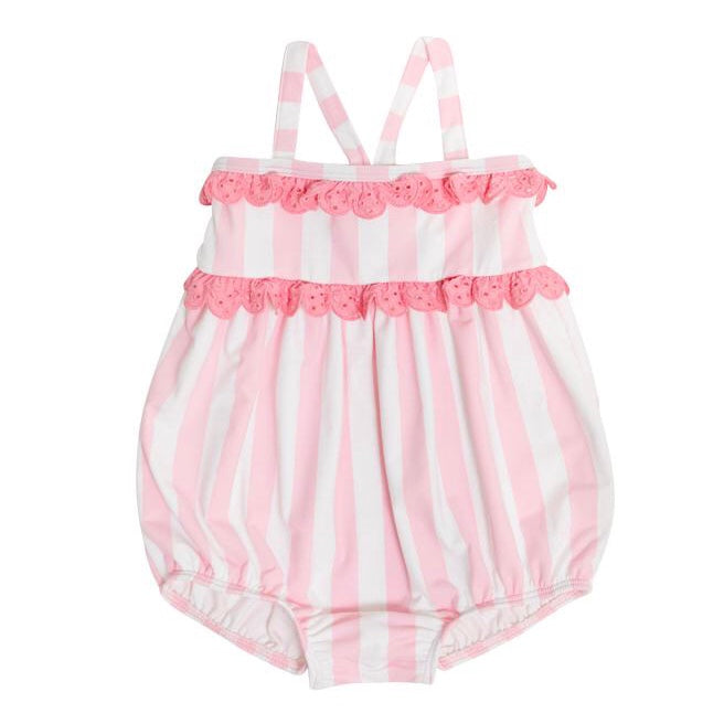 St. Bart's Bubble Bathing Suit w/ Snaps - Caicos Cabanna Stripe/Hamptons Hot Pink