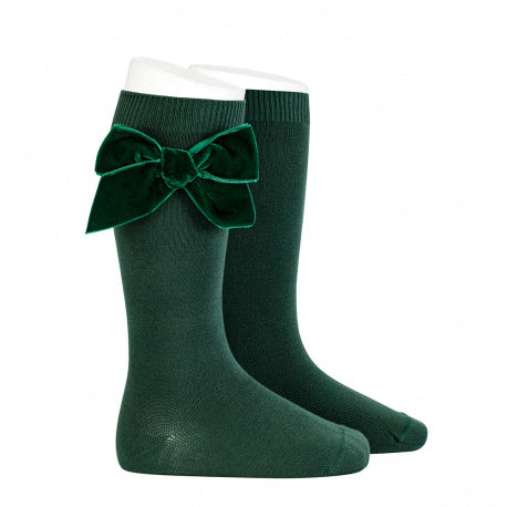 Knee Socks with Velvet Bow Hunter Green - Born Childrens Boutique